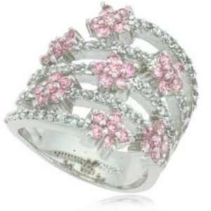 Silver Spiral Pink Cubic Zirconia and Simulated Diamond CZ Flower Ring