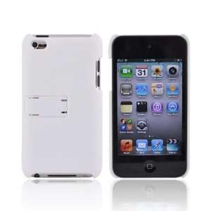 WHITE For iPod Touch 4 Rubberized Hard Case Cover Stand