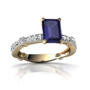 Gold Emerald cut Genuine Sapphire Engagement Ring Size 6 Jewelry