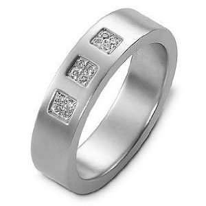 14 Karat Designer White Gold Diamond Wedding Band Ring