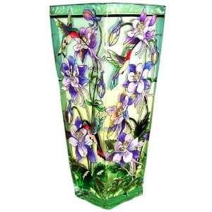 Columbine and Hummingbirds Painted Art Glass Flower Vase