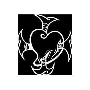 HRT (69) 6 white vinyl decal tribal croos design heart die cut decal