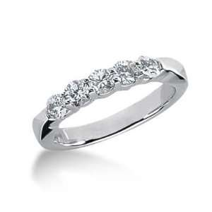 14K Gold Diamond Anniversary Wedding Ring 5 Round Brilliant Diamonds 0