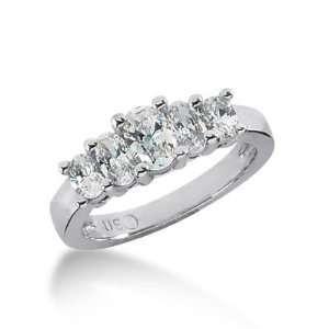 18K Gold Diamond Anniversary Wedding Ring 5 Oval Shaped Diamond