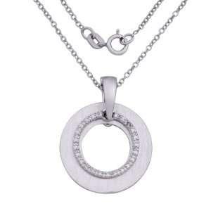 Silver Diamond Accent Open Circle Pendant Necklace, 18 Jewelry