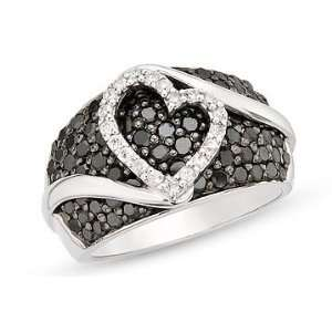 Carat Black and White Diamond Sterling Silver Heart Ring Jewelry