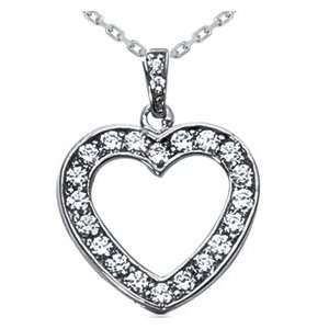 .70CT Diamond Heart Pendant 14K White Gold Necklace New Jewelry