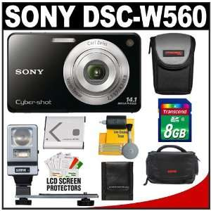 Digital Camera (Black) with 8GB Card + Battery + (2) Cases + Flash