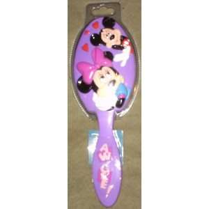 Purple Disney Mickey and Minnie Mouse Cushion Hair Brush