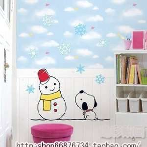 Snow man   Loft 520 Kids Nursery Home Decor Vinyl Mural Art Wall Paper