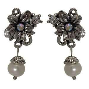 Rhonwen Antique Silver pearl Crystal Clip On Earrings Jewelry