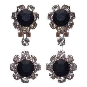 Dottie Silver Black Crystal Clip On Earrings Jewelry