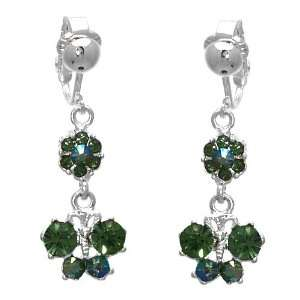 Virtuous Silver Green Crystal Clip On Earrings Jewelry