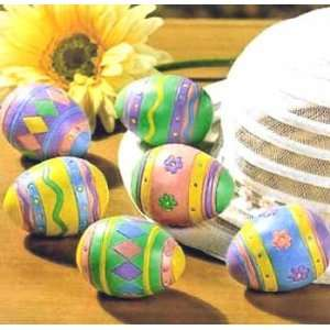 Decorated Painted Easter Basket Eggs Set of 6