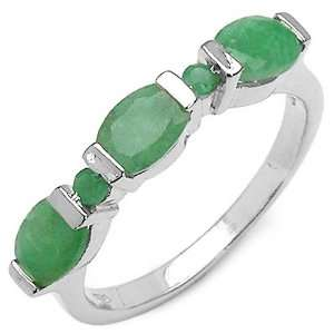 1.50 Carat Genuine Emerald Sterling Silver Ring Jewelry