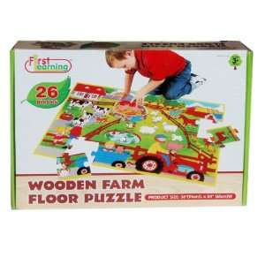 First Learning Wooden Farm Floor Puzzle 36x24 Toys & Games