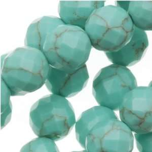 Green Turquoise Faceted Round Gemstone Beads 6mm   15.5