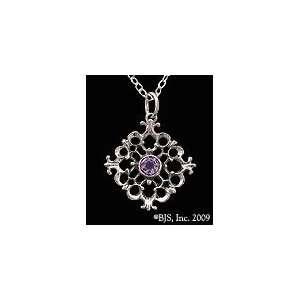Baroque Amethyst Gemstone Sterling Silver Pendant Necklace, 18 Silver