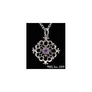 Baroque Amethyst Gemstone Sterling Silver Pendant Necklace, 18 Silver