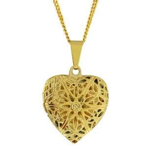 Gold Tone Filigree Heart Shaped Locket Pendant Necklace With 18 Chain