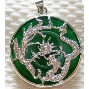 Green Jade SILVER Dragon Phoenix GIFT Pendant and Necklace: Everything