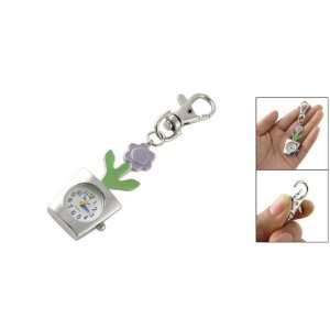 Como Purple Green Flower Pendant Mini Key Ring Quartz