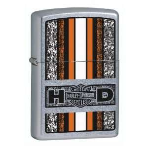 Zippo Harley Davidson Orange Lighter (Silver, 5 1/2 x 3 1