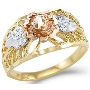 14k Yellow White n Rose Gold Ladies Flower Fashion Ring Jewelry