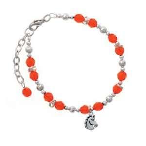 Mini 2 D Classic Horse Head Orange Czech Glass Beaded Charm Bracelet