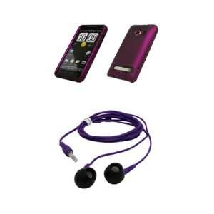 HTC EVO 4G Premium Rubberized Purple Snap on Case Cover Cell Phone