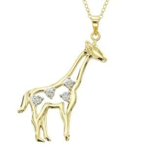 Gold Plated Silver Diamond Accent Giraffe Pendant Jewelry