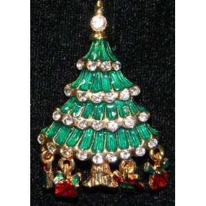 Christmas Tree Pin Enamel Rhinestones Dangles Presents