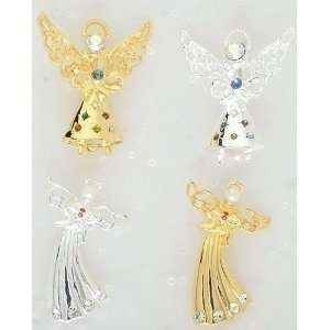 Christmas Jewlery Gold & Silver Gem Accented Angel Pins Home