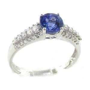 Luxury Elegant Womens 18K White Gold AAA Tanzanite & Diamond Band Ring