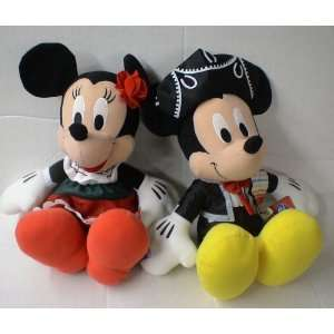 Mickey & Minnie Mouse in Mexican Attire Plush Doll Set Toys & Games