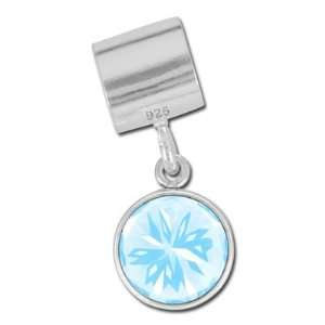 6mm Crystal Cubic Zirconia Drop Charm   Sterling Silver