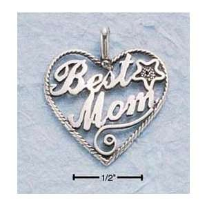 Sterling Silver Large Antiqued Heart Best Mom Charm