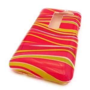 LG MS910 Esteem Pink Yellow Zebra Swirl Gloss Hard Case