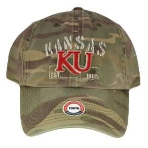 NCAA KANSAS JAYHAWKS CAMO YOUTH KIDS HAT CAP GREEN NEW