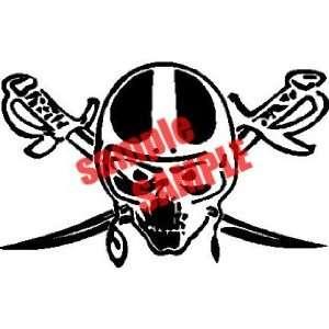 SKULL SWORD NFL TEAM WHITE VINYL DECAL STICKER