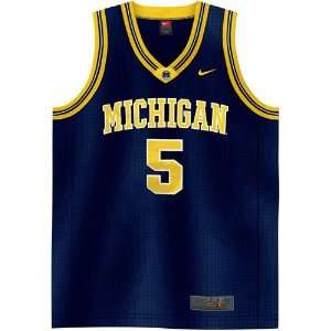 Nike Elite Michigan Wolverines #5 Navy Replica Basketball