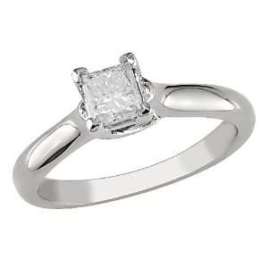 14K white gold 1/3ctw princess cut diamond ring, G H I1 I2 Jewelry