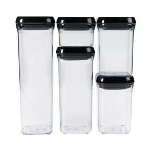 Oxo Good Grips 5 piece Pop Container Set, Black Lids