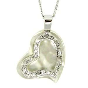 Sweet Heart Pendant W/white Mother of pearl & White Czs Jewelry