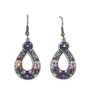 Purple & Pink Flower Teardrop Pierced Earrings Jewelry