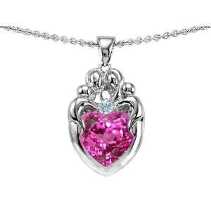 Family Pendant With Created Heart Shape Pink Sapphire in .925 Sterling
