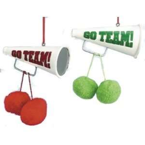 Megaphone & Pom poms Christmas Ornaments Set of 2 Sports
