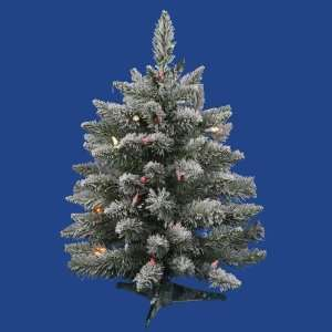 2 Pre Lit Flocked Sugar Pine Artificial Christmas Tree