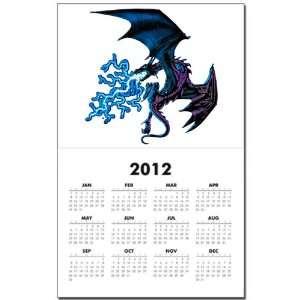 Calendar Print w Current Year Blue Dragon with Lightning Flames