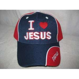 Jesus Christian Baseball Cap/Hat NAVY BLUE & RED